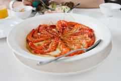 Prawns on a plate. Can be used as a restaurant advertisment Royalty Free Stock Photo