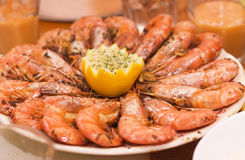 Prawns on a platter Stock Photos