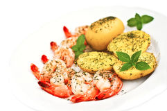 Prawns and potato isolated Royalty Free Stock Images