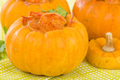 Prawns in Pumpkin Royalty Free Stock Photography