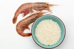 Prawns and rice Stock Photos