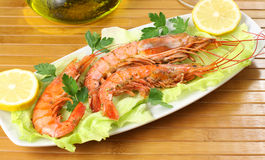 prawns with salad Stock Photo