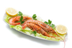 prawns with salad Stock Photography