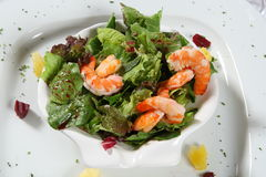 Prawns salad. Delicious prawns over a fresh green salad stock images