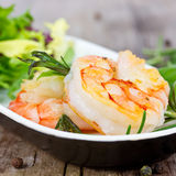 Prawns with salad Royalty Free Stock Photo