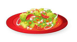 Prawns salad in red dish. Illustration of prawn salad in red dish on white Stock Images