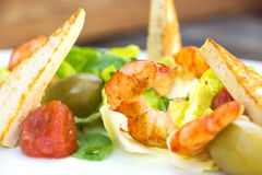 Prawns salad on a wooden background Stock Photos