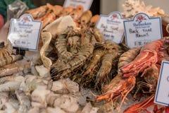 Prawns and seafood sold at Borough Market in London, UK Royalty Free Stock Image