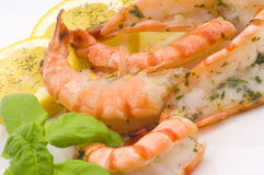 Prawns with seasoning Stock Photography
