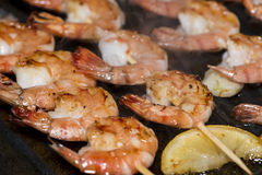 Prawns in a Skillet Stock Images