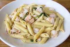Prawns Spinach Basil Penne Pasta Stock Photography