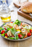 Prawns with sweet corn and rocket salad Royalty Free Stock Image