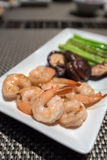 Prawns teppanyaki. With asparagus and mushroom Stock Photo