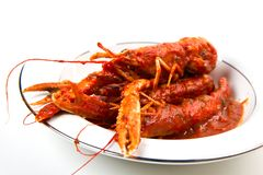 Prawns in a tomato sauce Royalty Free Stock Image