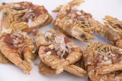 Prawns topped spicy split pea patties Stock Photo