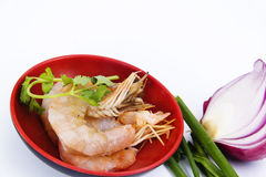 Prawns with vegetable Stock Photos