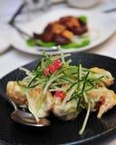 Prawns with wasabi sauce Royalty Free Stock Photo