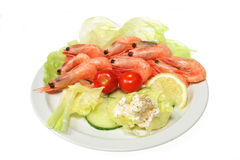 Prawns With Salad Stock Images