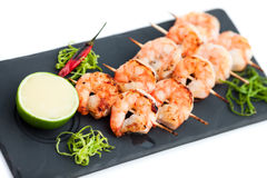 Prawns yakitori Royalty Free Stock Photos