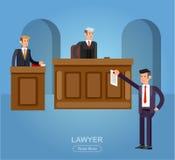 Prawo horyzontalny sztandar ustawiający z systemów sądowych elementami odizolowywał wektorową ilustrację Zdjęcia Stock