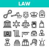 Prawo I Porządek Liniowe Wektorowe ikony Ustawiać ilustracja wektor