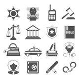 Prawo ikony białe i czarne Zdjęcia Royalty Free