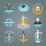 Prawo przylepia etykietkę ikony ustawiać Fotografia Royalty Free