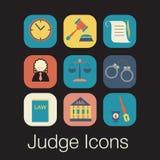 Prawo sędziego ikony set, sprawiedliwość znak Obrazy Stock