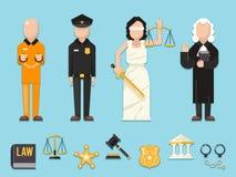 Prawo sprawiedliwość Themis Femida waży kordzik polici sędziego więźnia charakterów ikon ikony wektoru symbol ustawiającą płaską  Zdjęcia Stock