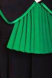 Prawo sprawiedliwość. Zbliżenie prawnika adwokata połysku czerni zieleni klasyczna toga Fotografia Royalty Free