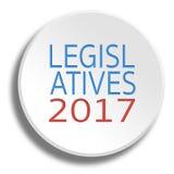 Prawodawczy 2017 w round białym guziku z cieniem royalty ilustracja