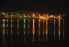 Prawy bank Volga rzeka przy nocą Obrazy Royalty Free