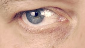 Prawy oko zbliża wewnątrz zbliżać, mężczyzna dobra oka ekstremum zakończenie w górę makro- widoku mężczyzna read Przyglądająca in zbiory wideo