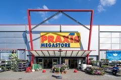 Praxis hardware store in Leiderdorp, Netherlands. Praxis is a leading DIY brand in the Netherlands and has a total of 146 stores and is part of the Maxeda DIY stock image