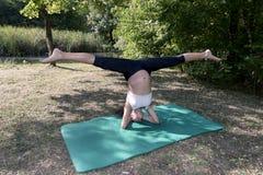 Praxis-Yoga-Schwangerschafts-Haltungs-Spalte Stockfotos