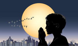 Pray. Vector illustration of a praying boy Stock Photos