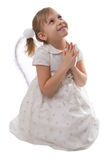 Pray. Girl in a white dress with wings isolated on a white background Royalty Free Stock Photos