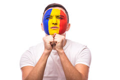 Pray and ask for a win Romanian football fan in game  of Romania national team Stock Images