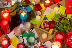 Pray for Barcelona 12. Honoring of the city of Barcelona to the victims of the attempt of the Ramblas Stock Photography