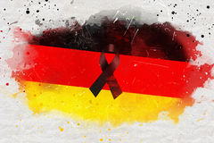 Pray for berlin,  germany country flag color background with black ribbon, painted with watercolor effect. Grunge style Stock Images