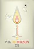 Pray For Brussels, Belgium royalty free illustration