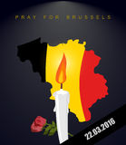 Pray for Brussels. Map Of Belgium. Flag Of Belgium. Mourning in Stock Photo
