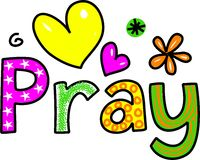 Pray Cartoon Text Clipart Royalty Free Stock Images