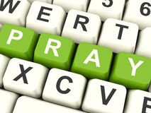 Pray Computer Keys Showing Worship And Religion Royalty Free Stock Images
