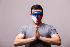 Pray of Czech Republic. Czech football fan pray for game Czech Republic Stock Image
