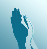 Pray. 3d generated picture of two praying hands vector illustration