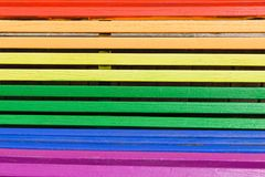 Pride day concept. Wood from a bench painted in rainbow colors. Pray day concept. Wood from a bench painted in rainbow colors stock photography
