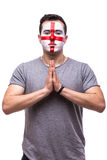 Pray for England. Englishman football fan pray for game England national team Stock Images