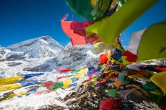 Pray flags in Everest base camp.  Stock Image