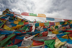 Pray flags in Tibet Stock Photo